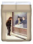 Reflections Of A Hungry Man Or Social Contrasts Duvet Cover by Emilio Longoni