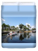 Reflection's Of A Lone Fisherman Duvet Cover