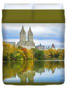 Reflections Of Autumn Central Park Lake  Duvet Cover