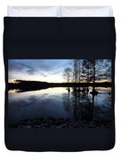 Reflections On Lake At Sunset Duvet Cover