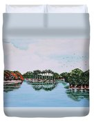Reflections On Lal Bagh Lake Duvet Cover