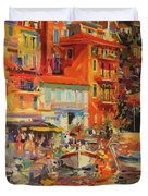 Reflections - Villefranche Duvet Cover by Peter Graham