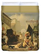 Refreshment Stall In St. Petersburg, 1858 Oil On Canvas Duvet Cover