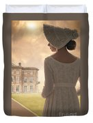Regency Period Woman With Mansion In Background Duvet Cover
