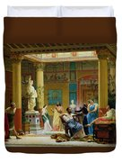 Rehearsal Of The Fluteplayer And The Diomedes Wife In The Atrium Of The Pompeian House Of Prince Duvet Cover