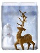 Reindeer In Snow Duvet Cover