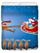 Reindeer Santa Sleigh Christmas Stunt Show Duvet Cover by Frank Ramspott