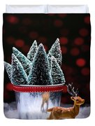 Reindeer With Christmas Trees Duvet Cover