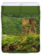 Reinfels Castle Ruins And Wildflowers In The Rhine River Valley 1 Duvet Cover