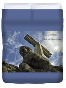 Religious Sculpture And Words Duvet Cover