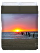 Remains Of A Wharf At Sunset Duvet Cover