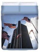 American Flags And Renaissance Center Duvet Cover