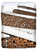 Renewable Heat Source Firewood Stacked In Winter Duvet Cover
