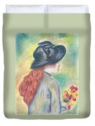 Renoirs' Painting Of Girl Holding A Bouquet In Pastels Duvet Cover