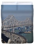 Replacement Of The Easter Span San Francisco Oakland Bay Bridge From Yerba Buena Island Oct 9th 2011 Duvet Cover