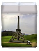 Replica Of Wooden Trebuchet And The Ruins Of The Urquhart Castle Duvet Cover