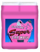 Elephant Super Car Wash Sign Seattle Washington Duvet Cover