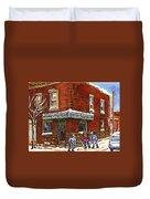 Restaurant Epicerie Jean Guy Pointe St. Charles Montreal Art Verdun Winter Scenes Hockey Paintings   Duvet Cover