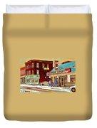Restaurant Greenspot And Coin Vert Boutique Fleuriste Montreal Winter Street Hockey Scenes Duvet Cover