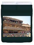 Restaurant In Bhaktapur Durbar Square In Bhaktapur-nepal Duvet Cover