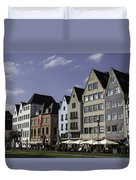 Restaurants And Brewpubs Along The Rhine Cologne Duvet Cover