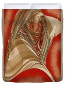 Resting Woman - Portrait In Red Duvet Cover
