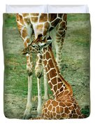 Reticulated Giraffe And Calf Duvet Cover