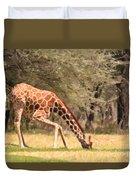 Reticulated Giraffe Drinking At Waterhole Kenya Duvet Cover