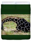 Reticulated Giraffe On Ground Duvet Cover