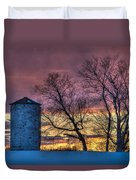 Retired Silo Watching Sunset Duvet Cover