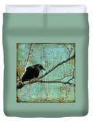 Retro Blue - Crow Duvet Cover