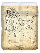 Retro Mermaid Duvet Cover