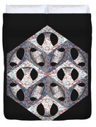 Retro Ornamental Subtraction Of Cube And Sphere  Duvet Cover
