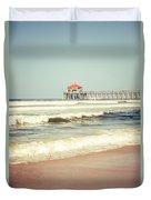 Retro Photo Of Huntington Beach Pier  Duvet Cover