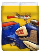 Retro Police Tricycle Duvet Cover