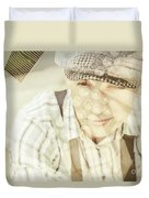 Retro Typist With Dream To Inspire Duvet Cover