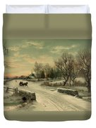 Retro Vintage Rural Winter Scene Duvet Cover