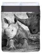 Rhino And Baby Duvet Cover