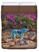 Rhino And Bougainvillea Duvet Cover