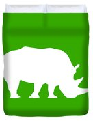 Rhino In Green And White Duvet Cover