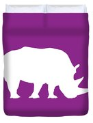 Rhino In Purple And White Duvet Cover