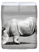 Rhinoceros Charcoal Drawing Duvet Cover