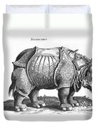 Rhinoceros No 76 From Historia Animalium By Conrad Gesner  Duvet Cover
