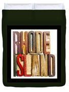 Rhode Island Antique Letterpress Printing Blocks Duvet Cover