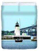 Rhode Island - Lighthouse Bridge And Boats Newport Ri Duvet Cover