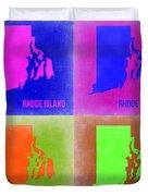 Rhode Island Pop Art Map 2 Duvet Cover