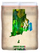 Rhode Island Watercolor Map Duvet Cover by Naxart Studio