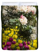Rhodies And Tulips Duvet Cover