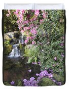 Rhododendron Flowers By Waterfall Duvet Cover