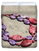 Rhodonite And Crazy Lace Agate Double Strand Chunky Necklace 3636 Duvet Cover